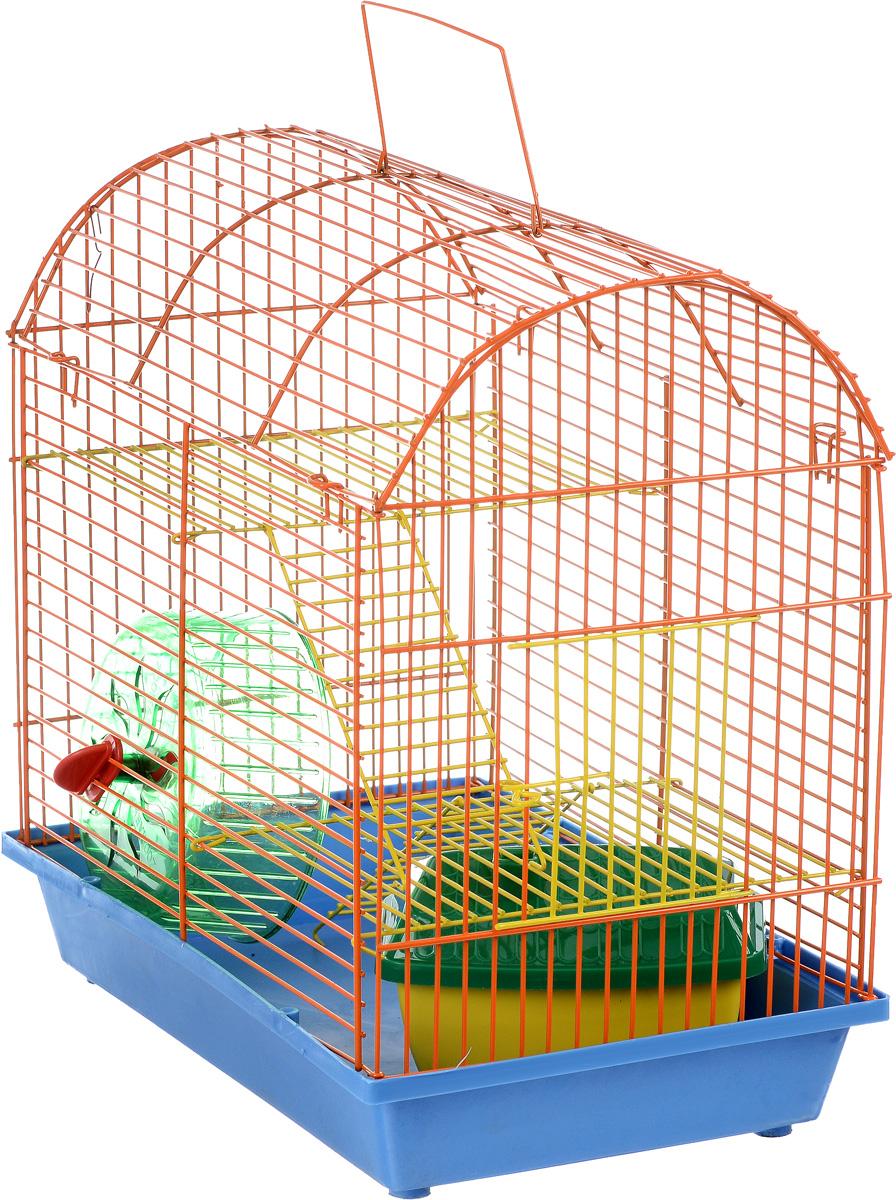 Клетка для грызунов ЗооМарк, 2-этажная, цвет: голубой поддон, оранжевая решетка, желтые этажи, 37 х 23 х 35 см112_голубой, оранжевый, желтыйКлетка ЗооМарк, выполненная из полипропилена и металла, подходит для мелких грызунов. Изделие двухэтажное, оборудовано колесом для подвижных игр и пластиковым домиком. Клетка имеет яркий поддон, удобна в использовании и легко чистится. Сверху имеется ручка для переноски. Такая клетка станет уединенным личным пространством и уютным домиком для маленького грызуна.