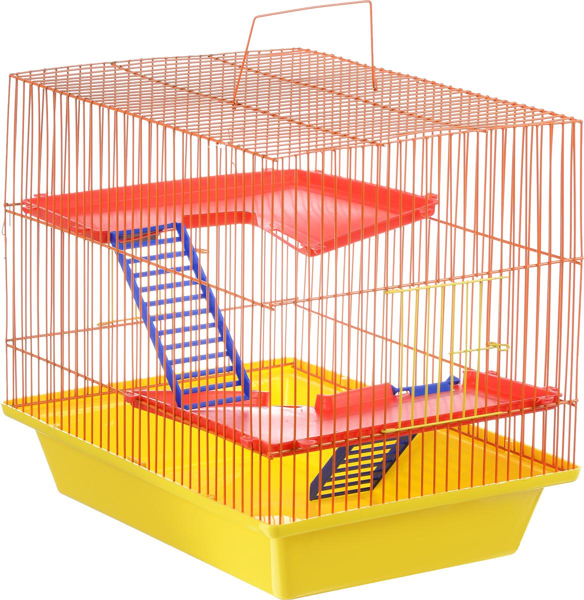 Клетка для грызунов ЗооМарк Гризли, 3-этажная, цвет: желтый поддон, оранжевая решетка, красные этажи, 41 х 30 х 36 см230_желтый, оранжевый, красныйКлетка ЗооМарк Гризли, выполненная из полипропилена и металла, подходит для мелких грызунов. Изделие трехэтажное. Клетка имеет яркий поддон, удобна в использовании и легко чистится. Сверху имеется ручка для переноски. Такая клетка станет уединенным личным пространством и уютным домиком для маленького грызуна.