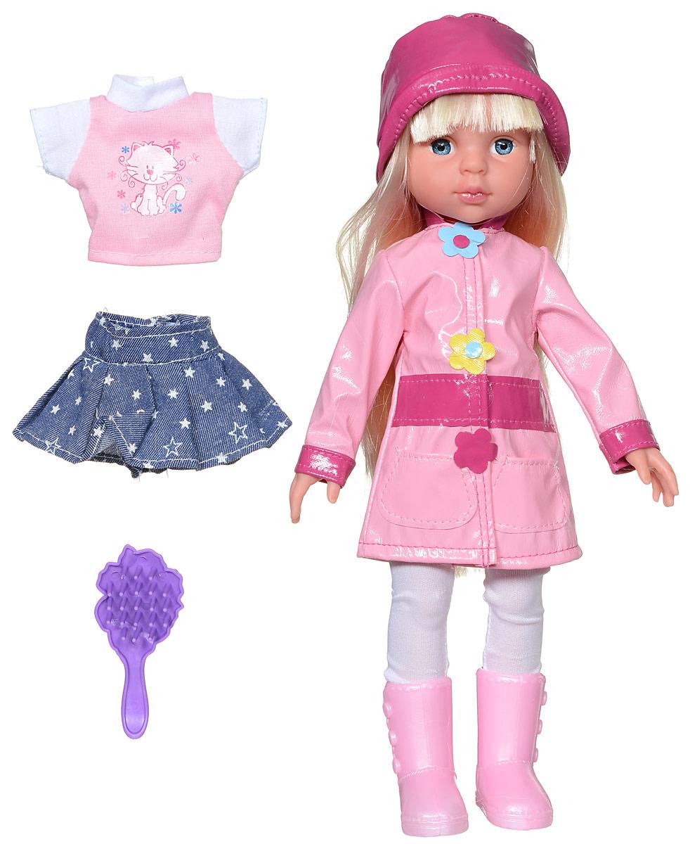 Карапуз Кукла озвученная Осенняя пора цвет плаща розовойAUTUMN-100-RUКрасивая озвученная кукла Карапуз Осенняя пора имеет милый и привлекательный вид. У куклы симпатичное лицо, светлые длинные волосы и стильный осенний костюмчик, состоящий из плащика, сапог и шляпки. В комплекте также имеется дополнительный наряд, который можно одевать в солнечную погоду - это джинсовая юбочка и розовая футболка. Длинные волосы куклы можно расчесывать расческой, входящей в набор. Также девочка сможет придумывать ей разнообразные прически. Важной особенностью куклы является ее оснащенность встроенным звуковым модулем, который позволяет игрушке воспроизводить 4 стихотворения (про мамочку, про подружку, про досуг и про прогулку) и 4 песни (Песенка Красной Шапочки, От улыбки, Облака, Если с другом вышел в путь). Порадуйте свою дочурку таким замечательным подарком! Рекомендуется докупить 3 батарейки напряжением 1,5V типа АG13/LR44 (товар комплектуется демонстрационными).