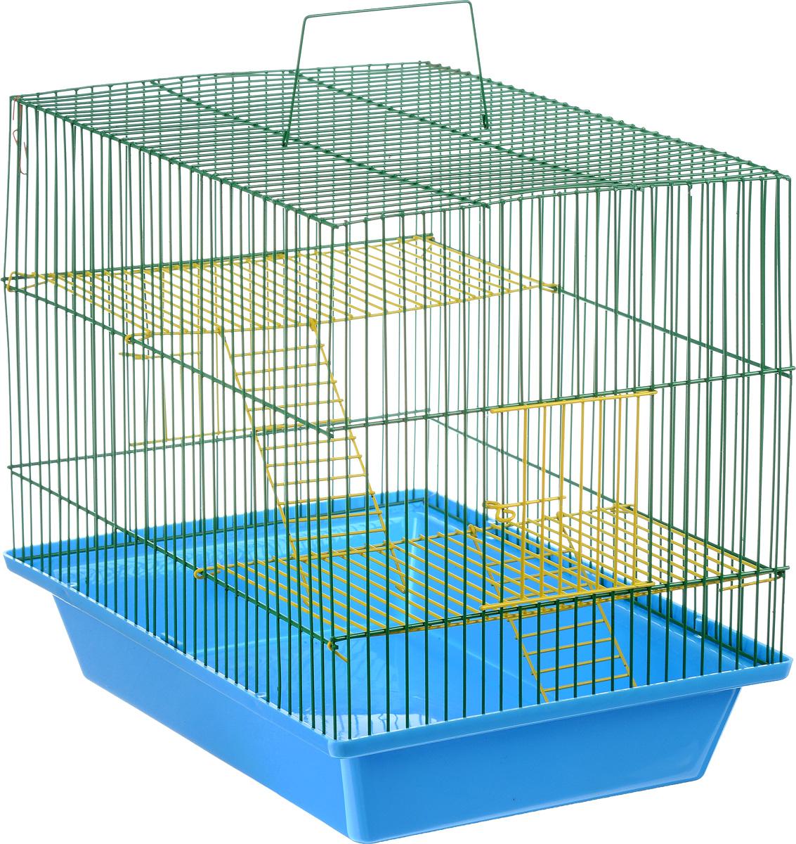 Клетка для грызунов ЗооМарк Гризли, 3-этажная, цвет: синий поддон, зеленая решетка, желтые этажи, 41 х 30 х 36 см. 230ж230жСЗКлетка ЗооМарк Гризли, выполненная из полипропилена и металла, подходит для мелких грызунов. Изделие трехэтажное. Клетка имеет яркий поддон, удобна в использовании и легко чистится. Сверху имеется ручка для переноски. Такая клетка станет уединенным личным пространством и уютным домиком для маленького грызуна.
