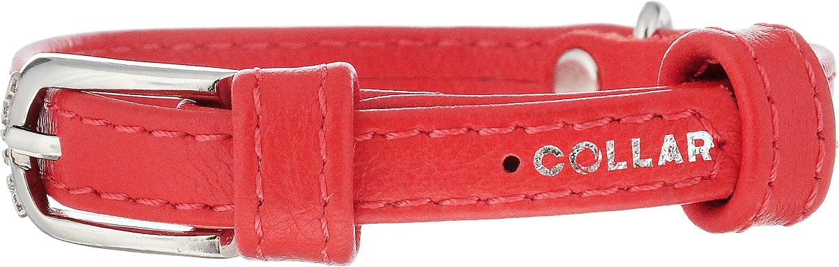 Ошейник для собак CoLLaR Glamour, цвет: красный, ширина 9 мм, обхват шеи 19-25 см. 320132013Ошейник CoLLaR Glamour изготовлен из натуральной кожи, устойчивой к влажности и перепадам температур. Клеевой слой, сверхпрочные нити, крепкие металлические элементы делают ошейник надежным и долговечным. Изделие отличается высоким качеством, удобством и универсальностью. Размер ошейника регулируется при помощи металлической пряжки. Имеется металлическое кольцо для крепления поводка. Ваша собака тоже хочет выглядеть стильно! Такой модный ошейник станет для питомца отличным украшением и выделит его среди остальных животных. Минимальный обхват шеи: 19 см. Максимальный обхват шеи: 25 см. Ширина: 9 мм.