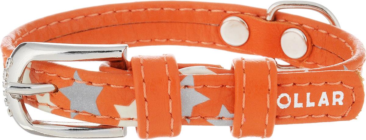 Ошейник для собак CoLLaR Glamour Звездочка, цвет: оранжевый, ширина 1,2 см, обхват шеи 19-25 см35834Ошейник для собак CoLLaR Glamour Звездочка изготовлен из натуральной кожи и декорирован оригинальным рисунком. Специальная технология печати по коже позволяет наносить на ошейник устойчивый рисунок, обладающий одновременно светоотражающим и светонакопительным эффектом. Ошейник устойчив к влажности и перепадам температур. Сверхпрочные нити, крепкие металлические элементы делают ошейник надежным и долговечным. Обхват ошейника регулируется при помощи пряжки. Ошейник оснащен металлическим кольцом для крепления поводка. Изделие отличается высоким качеством, удобством и универсальностью. Минимальный обхват шеи: 19 см. Максимальный обхват шеи: 25 см. Ширина ошейника: 1,2 см.