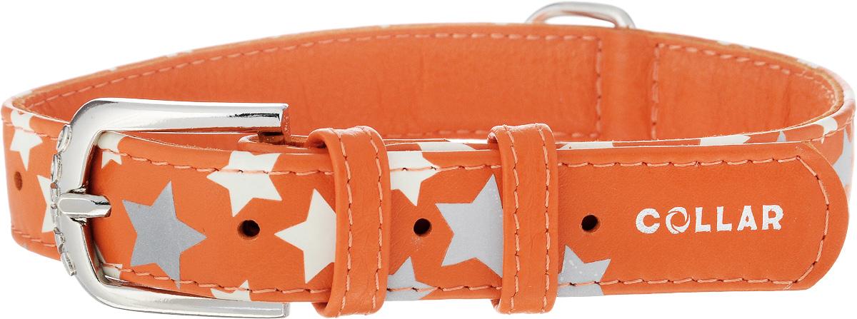 Ошейник для собак CoLLaR Glamour Звездочка, цвет: оранжевый, ширина 2,5 см, обхват шеи 38-49 см35874Ошейник для собак CoLLaR Glamour Звездочка изготовлен из натуральной кожи и декорирован оригинальным рисунком. Специальная технология печати по коже позволяет наносить на ошейник устойчивый рисунок, обладающий одновременно светоотражающим и светонакопительным эффектом. Ошейник устойчив к влажности и перепадам температур. Сверхпрочные нити, крепкие металлические элементы делают ошейник надежным и долговечным. Обхват ошейника регулируется при помощи пряжки. Ошейник оснащен металлическим кольцом для крепления поводка. Изделие отличается высоким качеством, удобством и универсальностью. Минимальный обхват шеи: 38 см. Максимальный обхват шеи: 49 см. Ширина ошейника: 2,5 см.