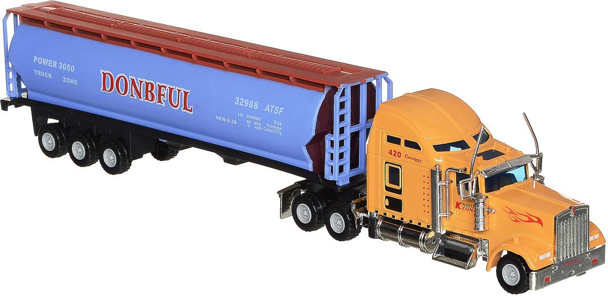 Junfa Toys Грузовик цвет желтый сиреневый1807-1D_желтый, сиреневыйГрузовик Junfa Toys обязательно привлечет внимание вашего ребенка. Игрушка выполнена в масштабе 1:48 из прочного пластика и металла в виде мощного грузовика с прицепом. Прицеп отсоединяется от кабины, колеса свободно вращаются. Высокая степень детализации делает игру с машинкой еще более интересной, а также позволит игрушке стать украшением любой коллекции грузовиков. Малыш проведет с этой игрушкой много увлекательных часов, разыгрывая различные ситуации. Ваш ребенок будет в восторге от такого подарка!