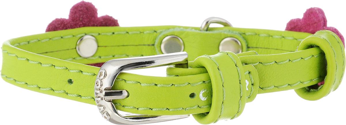Ошейник для собак CoLLaR Glamour Аппликация, цвет: салатовый, розовый, ширина 9 мм, обхват шеи 18-21 см34985Ошейник CoLLaR Glamour Аппликация изготовлен из натуральной кожи, устойчивой к влажности и перепадам температур. Клеевой слой, сверхпрочные нити, крепкие металлические элементы делают ошейник надежным и долговечным. Изделие отличается высоким качеством, удобством и универсальностью. Размер ошейника регулируется при помощи металлической пряжки. Имеется металлическое кольцо для крепления поводка. Ваша собака тоже хочет выглядеть стильно! Модный ошейник с аппликацией в виде цветов станет для питомца отличным украшением и выделит его среди остальных животных. Минимальный обхват шеи: 18 см. Максимальный обхват шеи: 21 см. Ширина: 9 мм.