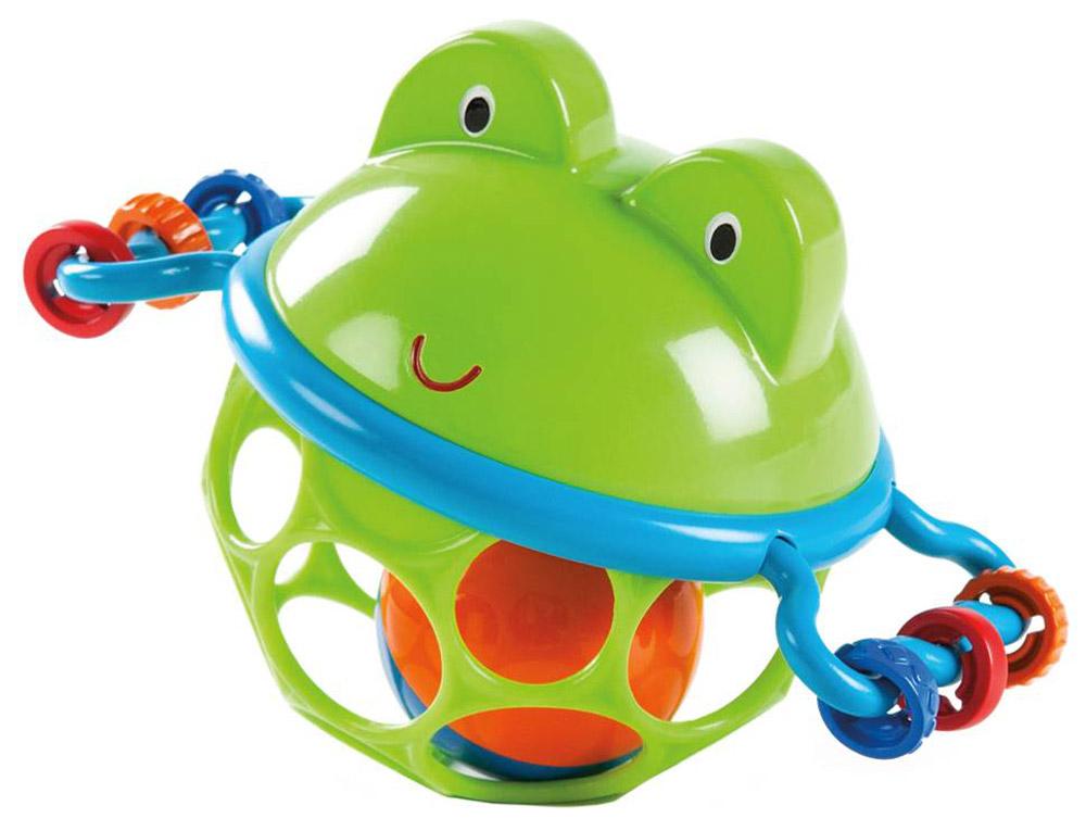 Oball Развивающая игрушка-мяч Лягушонок10063Яркий гремящий мячик Oball издает забавные звуки, стоит малышу его потрясти. Мяч дополнен мордочкой лягушки и лапками с подвижными элементами. Ажурный и легкий мячик имеет много крупных дырочек, что позволяет малышу удобно держать игрушку. Внутри игрушки перекатывается яркий пластиковый шарик с гремящими элементами. Мячик выполнен из гибкого пластика, приятный на ощупь, не имеет острых краев, полностью безопасен для крохи. Игрушка Oball развивает пространственное мышление, цветовое и звуковое восприятие, тактильные ощущения, ловкость и координацию движений.