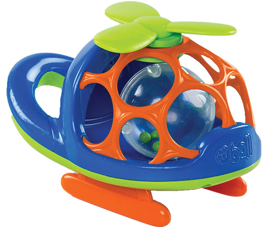Oball Вертолет цвет синий10556-2Вертолет Oball представлен в виде развивающей игрушки для малышей. Кабина вертолета выполнена в форме шара с большими отверстиями, которые ребенку будет интересно исследовать любопытными пальчиками. Внутри игрушки перекатывается прозрачный пластиковый шарик с гремящими элементами. Пропеллер вертолета можно крутить, при этом издается мелодичный треск. Вертолет дополнен удобной ручкой и безопасным зеркалом. Игрушка выполнена из приятного на ощупь пластика, не имеет острых краев, полностью безопасна для крохи. Игрушка Oball развивает пространственное мышление, цветовое и звуковое восприятие, тактильные ощущения, ловкость и координацию движений.