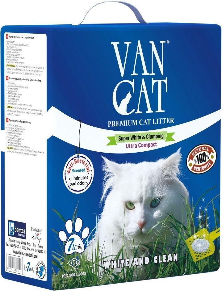 Наполнитель для кошачьих туалетов Van Cat, комкующийся, с антибактериальным эффектом, 7 л20252100% натуральный Белый цвет – символ чистоты и свежести. Так же белый цвет – это символ здоровья. Как нам контролировать здоровье мочевыделительной системы у кошки наиболее простым способом? Только белый наполнитель для кошачьего туалета дает нам такую возможность. Отлично комкуется Гранулы 0,6-2,25 мм Эффективно устраняет неприятные запахи Не пылит, лапы остаются чистыми Способность к абсорбации 300% Безопасен для животных и окружающей среды Экономичен в использовании Сохраняет лоток сухим, прост в уборке Удобная картонная упаковка