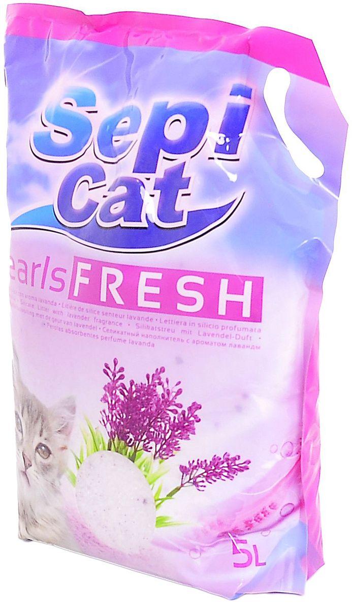 """Наполнитель для кошачьих туалетов Sepiolsa """"Жемчужный"""", силикагелевый, с ароматом лаванды, 5 л 20413"""