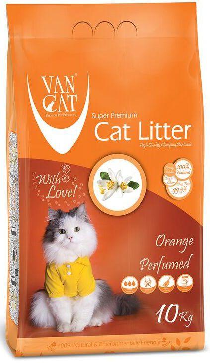 """Наполнитель для кошачьих туалетов """"Van Cat"""", комкующийся, без пыли, с ароматом апельсина, 10 кг"""
