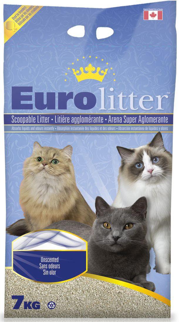 """Наполнитель для кошачьих туалетов Eurolitter """"Контроль запаха"""", комкующийся, без пыли, с ароматом детской присыпки, 7 кг 26265"""