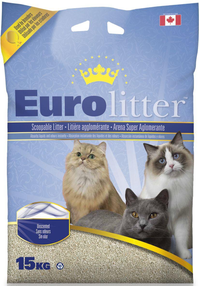 """Наполнитель для кошачьих туалетов Eurolitter """"Контроль запаха"""", комкующийся, без пыли, с ароматом детской присыпки, 15 кг 26266"""