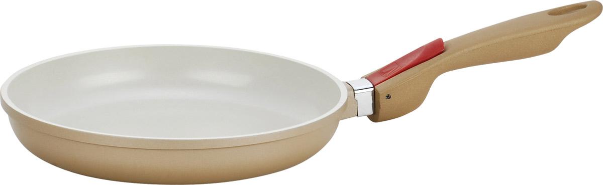 Сковорода Vitesse Frypan, со съемной ручкой. Диаметр 24 смVS-2251Сковорода Vitesse Frypan с антипригарным покрытием класса премиум и со съемной ручкой. Особенности сковороды: - изготовлена из высококачественного алюминия; - стойкое керамическое покрытие, позволяющее готовить при температуре до 450°C; - покрытие безопасное для здоровья человека, не содержит PFOA; - покрытие стойкое к царапинам, возможно использование металлической лопатки; - съемная ручка; - равномерное нагревание и доведение блюда до готовности. Характеристики: Материал: алюминий, пластик. Внешний диаметр по верхнему краю: 25 см. Внутренний диаметр по верхнему краю: 24 см. Высота сковороды: 4 см. Длина ручки: 19,5 см. Размер упаковки: 26 см х 29 см х 6 см. Изготовитель: Франция. Артикул: VS-2251. Французская торговая марка Vitesse представляет высококачественную посуду из нержавеющей стали 18/10. Vitesse профессионально занимается разработкой, производством и реализацией своей продукции на российском...