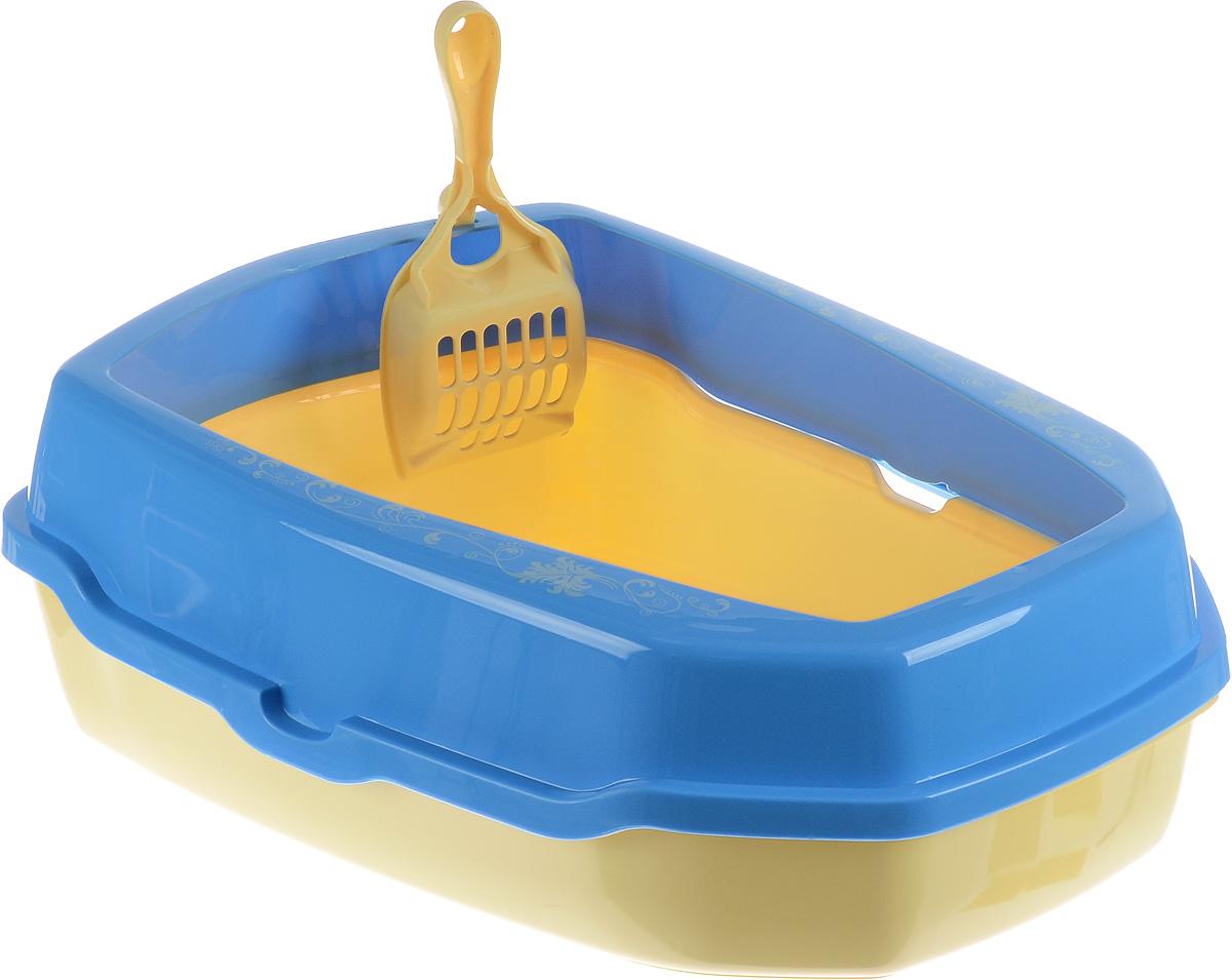 Туалет для кошек ВиСи Клозет, с совком, цвет: желтый, голубой, 50 х 37 х 17 см3968Туалет для кошек ВиСи Клозет, изготовленный из качественного прочного пластика, оснащен съемным бортом и удобным совком. Высокий борт, прикрепленный по периметру лотка, удобно защелкивается и предотвращает разбрасывание наполнителя. Это самый простой и удобный в использовании предмет обихода для кошек и котов. К лотку прилагается совок для уборки кошачьего туалета, изготовленный из качественного пластика. Совок с крупной сеткой позволит освободить туалет от образовавшихся комков и просеять наполнитель. На ручке совка есть специальный крючок для подвешивания на бортике туалета. С помощью этого совка вы сможете быстро и качественно убрать туалет кошки.