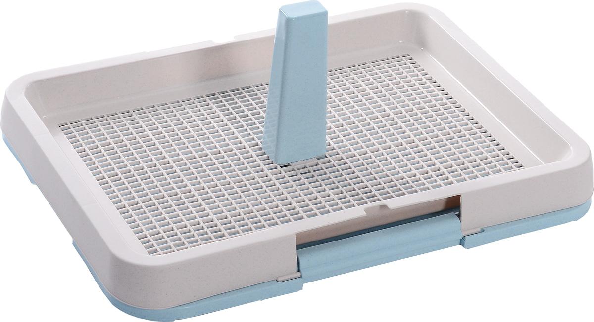 Туалет для собак OUT!, с фиксатором, со столбиком, цвет: розовый, голубой, 63 х 48 х 22 см4101Туалет для собак OUT!, изготовленный из нетоксичного пластика, предназначен для взрослых собак и щенков. Съёмный столбик легко крепится на решетку и позволяет применять туалет независимо от пола собаки. Гигиеническая пелёнка помещается под решетку, которая удерживается боковыми фиксаторами. Туалет легко моется водой.
