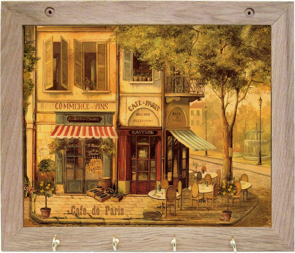 Вешалка GiftnHome Парижское кафе, с 4 крючками, 20 х 25 смTH-CafeArt-Casual - что значит буквально: повседневное искусство - это Новый тренд, новый стиль предложения обычных домашних аксессуаров в качестве элементов, задающих стиль и шарм окружающего пространства.Уникальное сочетание привычной функциональности и декоративной, интерьерной функции - это актуальная, современная тенденция от прогрессивных производителей товаров для дома. Вешалка для полотенец - это всем знакомый, понятный и нужный предмет в каждом доме.Проект GiftnHome предлагает серию изделий из натурального дерева (Eco-Life), в комбинации с модными цветными принтами на корпусе от Креативной студии AntonioK.Это изделия больше, чем просто крючки для полотенец, они несут интерьерное решение, зададут настроение и стиль на вашей кухне, столовой или дачной веранде. В серии Эко-Лайф, от GiftnHome - можно, так же приобрести ключницы, подносы и столики в постель из благородных пород дерева (бук, дуб), с актуальными дизайнами на поверхности древесины.