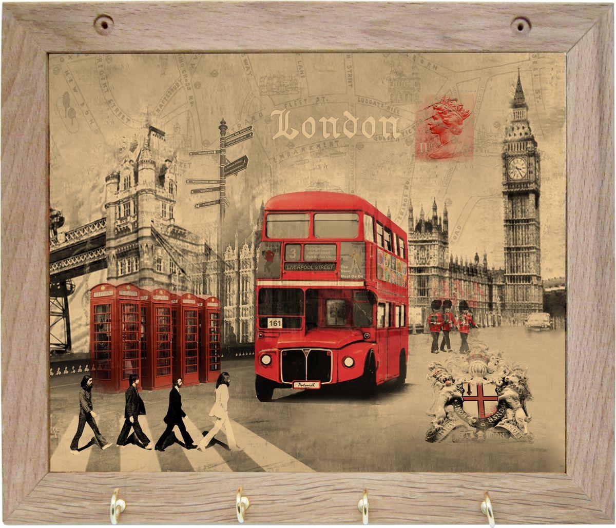 Вешалка GiftnHome Лондон, с 4 крючками, 20 х 25 смTH-LondonArt-Casual - что значит буквально: повседневное искусство - это Новый тренд, новый стиль предложения обычных домашних аксессуаров в качестве элементов, задающих стиль и шарм окружающего пространства.Уникальное сочетание привычной функциональности и декоративной, интерьерной функции - это актуальная, современная тенденция от прогрессивных производителей товаров для дома. Вешалка для полотенец - это всем знакомый, понятный и нужный предмет в каждом доме.Проект GiftnHome предлагает серию изделий из натурального дерева (Eco-Life), в комбинации с модными цветными принтами на корпусе от Креативной студии AntonioK.Это изделия больше, чем просто крючки для полотенец, они несут интерьерное решение, зададут настроение и стиль на вашей кухне, столовой или дачной веранде. В серии Эко-Лайф, от GiftnHome - можно, так же приобрести ключницы, подносы и столики в постель из благородных пород дерева (бук, дуб), с актуальными дизайнами на поверхности древесины.