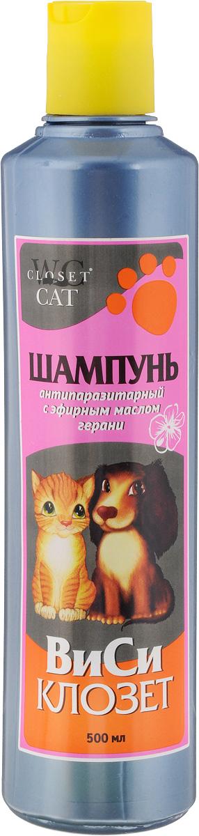 Шампунь для кошек и собак ВиСи Клозет, антипаразитарный, с эфирным маслом герани, 500 мл туалет для кошек виси клозет с совком цвет желтый голубой 50 х 37 х 17 см