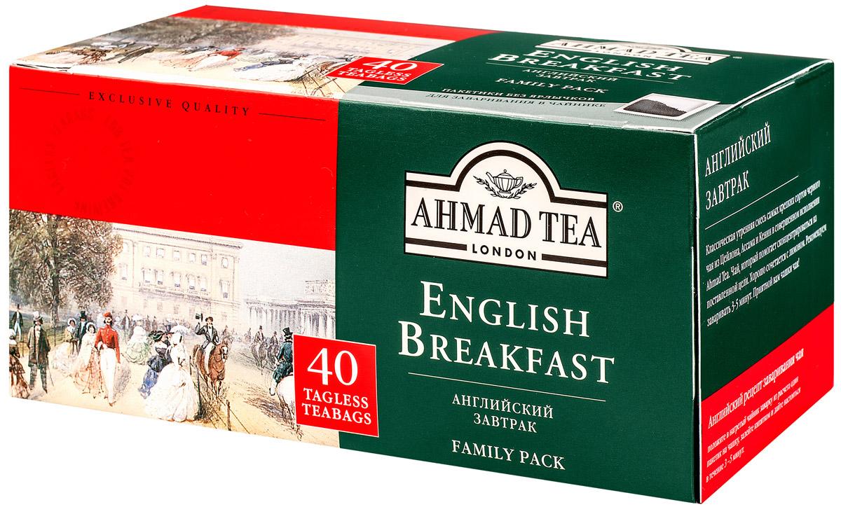 Ahmad Tea English Breakfast черный чай в пакетиках без ярлычков, 40 шт918Ahmad Tea English Breakfast - классическая утренняя смесь самых крепких сортов черного чая из Цейлона, Ассама и Кении в совершенном исполнении.