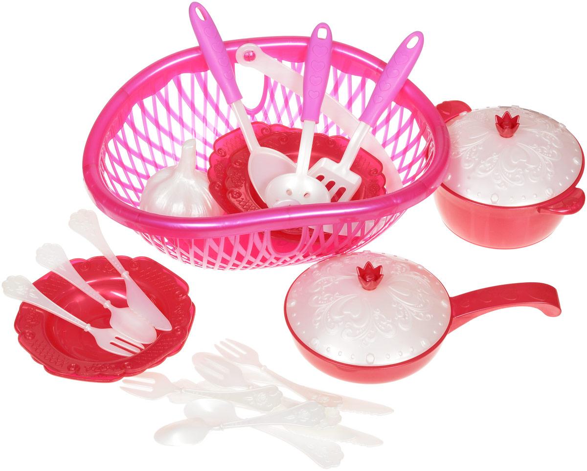 Нордпласт Игрушечный набор посуды Кухонный сервиз Волшебная Хозяюшка цвет фуксия красныйН-626_фуксия, красныйНабор посуды в лукошке Волшебная Хозяюшка - это игрушечные кухонные принадлежности, которые дополнят и разнообразят досуг ребенка. С таким набором все игрушки всегда будут сыты, а резные тарелочки и крышечки приведут в восторг любую маленькую хозяюшку. С набором посуды малышка сможет устроить вкусный обед для себя и своих игрушек. Все предметы изготовлены из высокопрочного яркого пластика. Предметы поместились в практичном лукошке с удобной ручкой для переноски. В лукошке 23 предмета столовой посуды: две лопаточки, ложка с дырочками, кастрюля с крышкой, сковорода с крышкой, 4 тарелки, 4 ложки, 4 вилки, 4 ножа и одна игрушечная головка чеснока. Набор Волшебная Хозяюшка станет великолепным подарком для вашей малышки.