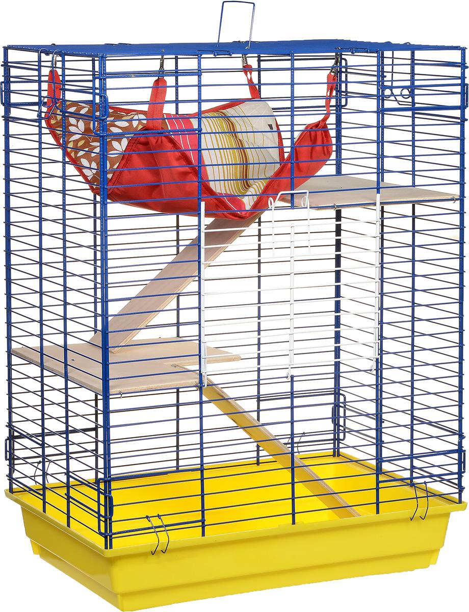 Клетка для шиншилл и хорьков ЗооМарк, цвет: желтый поддон, синяя решетка, 59 х 41 х 79 см. 725дк725дкЖСКлетка ЗооМарк, выполненная из полипропилена и металла, подходит для шиншилл и хорьков. Большая клетка оборудована длинными лестницами и гамаком. Изделие имеет яркий поддон, удобно в использовании и легко чистится. Сверху имеется ручка для переноски. Такая клетка станет уединенным личным пространством и уютным домиком для грызуна.