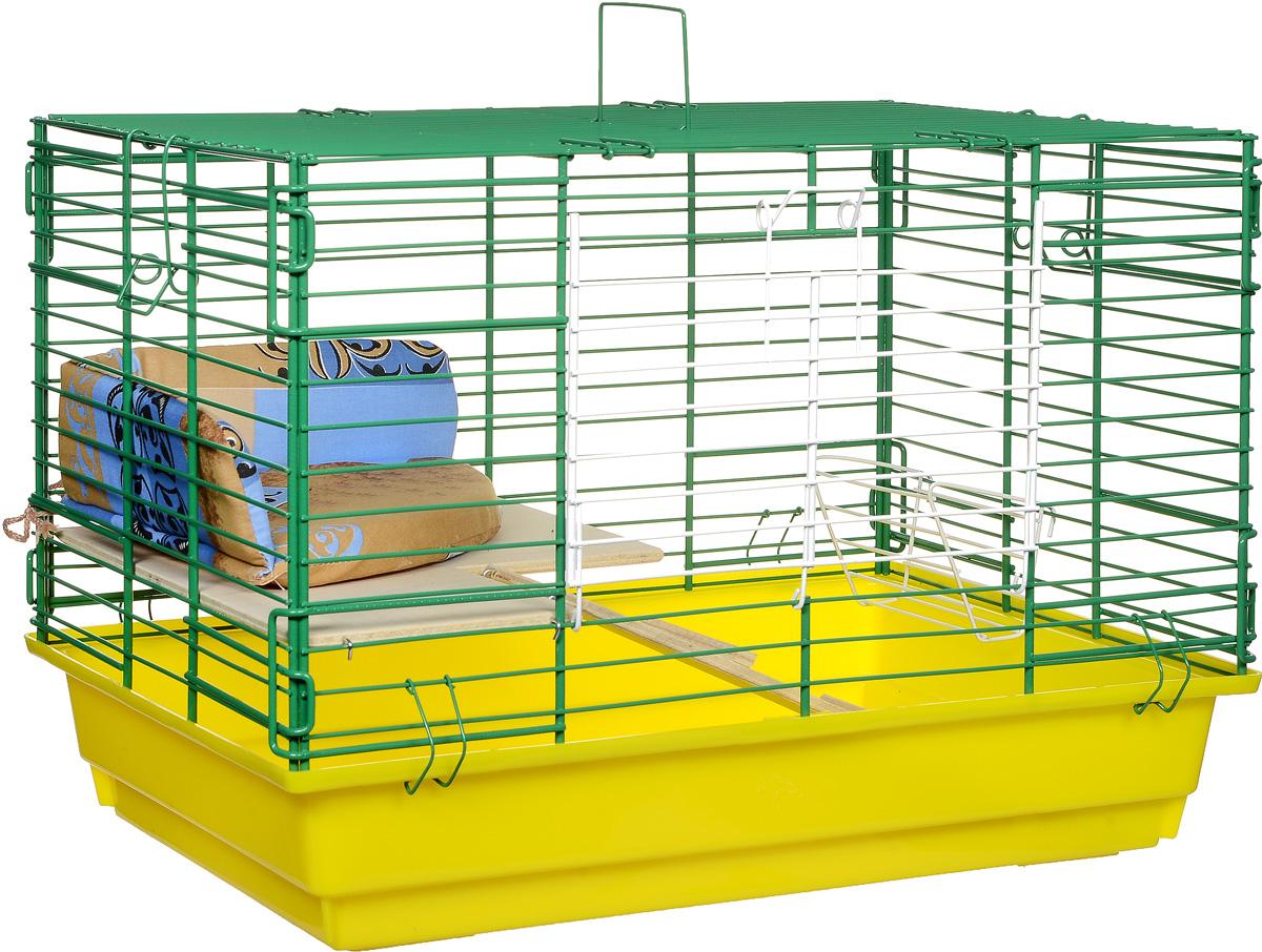 Клетка для кроликов ЗооМарк, 2-этажная, цвет: желтый поддон, зеленая решетка, 59 х 39 х 41 см650ЖЗКлетка для кроликов ЗооМарк, выполненная из металла и пластика, предназначена для содержания вашего любимца. Клетка имеет прямоугольную форму, очень просторна, оснащена съемным поддоном. Она очень легко собирается и разбирается. Для удобства вашего питомца в клетке предусмотрен мягкий уголок, в котором кролик сможет отдохнуть. Такая клетка станет для вашего питомца уютным домиком и надежным убежищем.