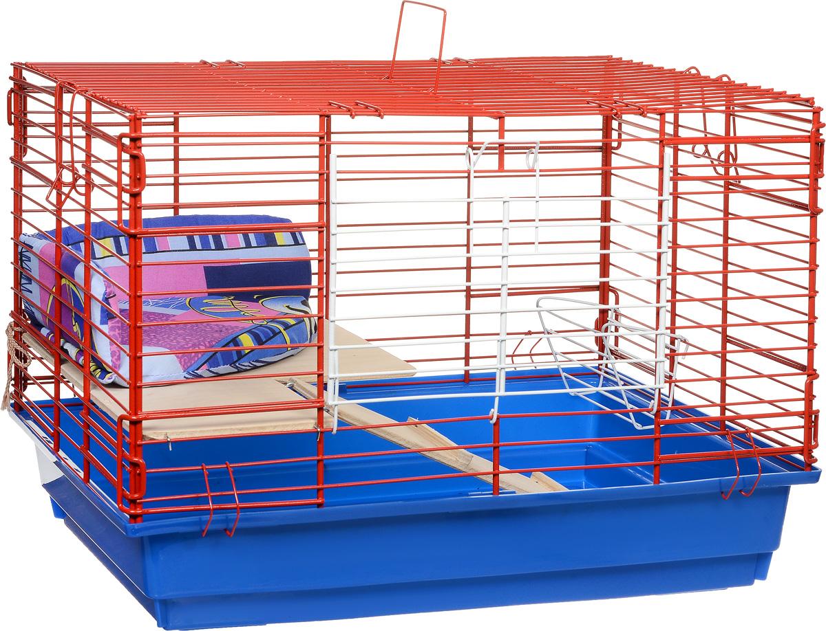Клетка для кроликов ЗооМарк, 2-этажная, цвет: синий поддон, красная решетка, 59 х 39 х 41 см650СККлетка для кроликов ЗооМарк, выполненная из металла и пластика, предназначена для содержания вашего любимца. Клетка имеет прямоугольную форму, очень просторна, оснащена съемным поддоном. Она очень легко собирается и разбирается. Для удобства вашего питомца в клетке предусмотрен мягкий уголок, в котором кролик сможет отдохнуть. Такая клетка станет для вашего питомца уютным домиком и надежным убежищем.