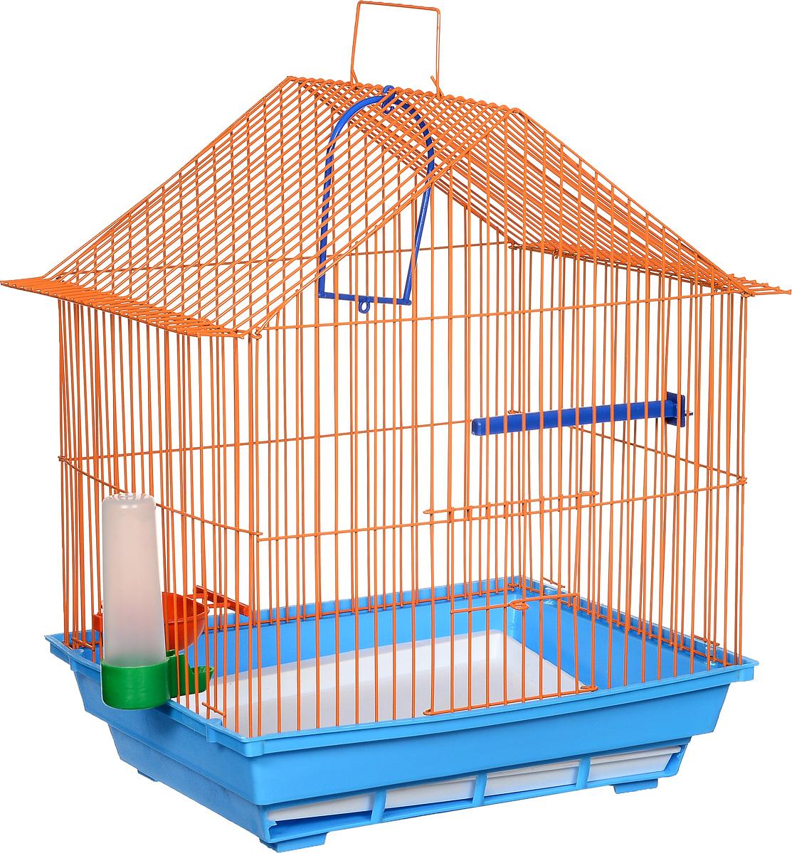 Клетка для птиц ЗооМарк, цвет: синий поддон, оранжевая решетка, 39 х 28 х 42 см410СОКлетка ЗооМарк, выполненная из полипропилена и металла, предназначена для мелких птиц. Изделие состоит из большого поддона и решетки. Клетка снабжена металлической дверцей. В основании клетки находится малый поддон. Клетка удобна в использовании и легко чистится. Она оснащена кольцом для птицы, поилкой, кормушкой и подвижной ручкой для удобной переноски.