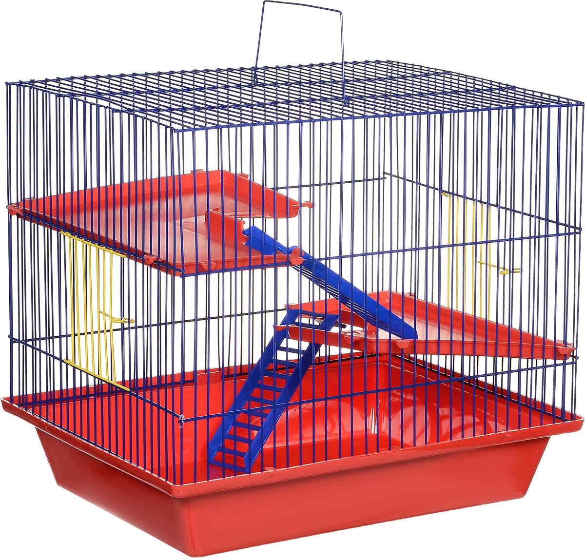 Клетка для грызунов ЗооМарк Гризли, 3-этажная, цвет: красный поддон, синяя решетка, красные этажи, 41 х 30 х 36 см230КСКлетка ЗооМарк Гризли, выполненная из полипропилена и металла, подходит для мелких грызунов. Изделие трехэтажное. Клетка имеет яркий поддон, удобна в использовании и легко чистится. Сверху имеется ручка для переноски. Такая клетка станет уединенным личным пространством и уютным домиком для маленького грызуна.