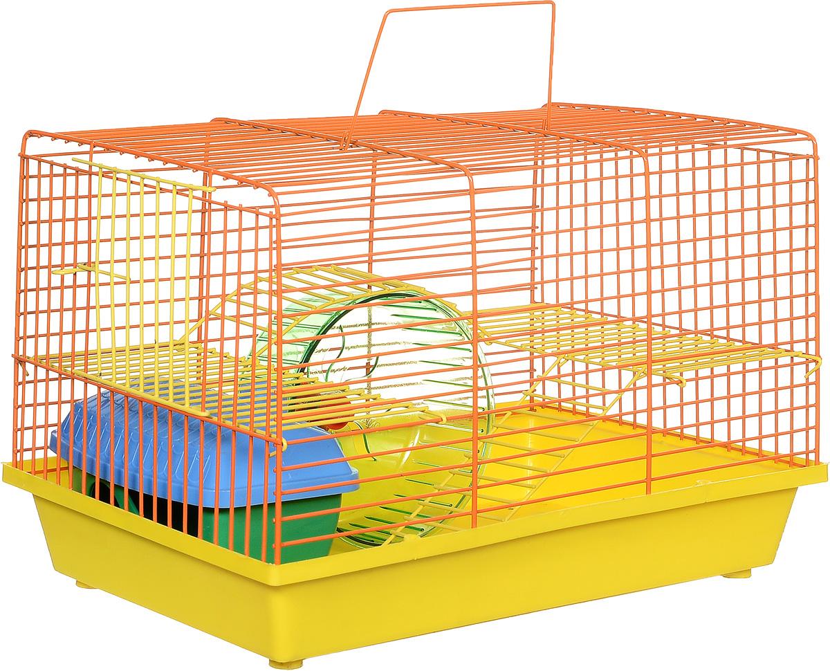 Клетка для грызунов Зоомарк Венеция, 2-этажная, цвет: желтый поддон, оранжевая решетка, желтый этаж, 36 х 23 х 24 см145кЖОКлетка Венеция, выполненная из полипропилена и металла, подходит для мелких грызунов. Изделие двухэтажное, оборудовано колесом для подвижных игр и пластиковым домиком. Клетка имеет яркий поддон, удобна в использовании и легко чистится. Сверху имеется ручка для переноски. Такая клетка станет уединенным личным пространством и уютным домиком для маленького грызуна.