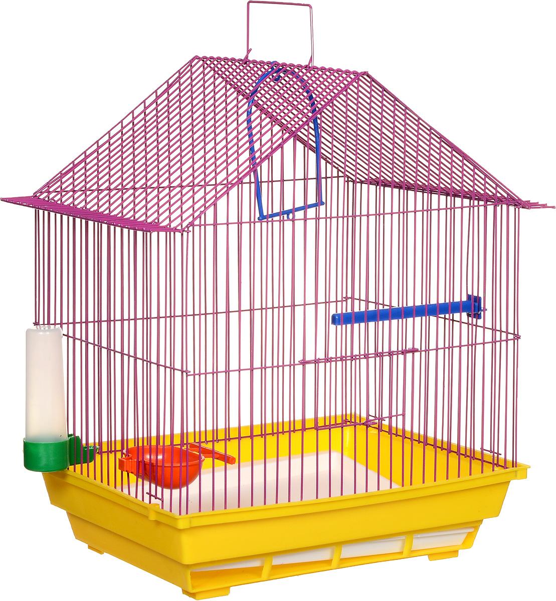 Клетка для птиц ЗооМарк, цвет: желтый поддон, фиолетовая решетка, 39 х 28 х 42 см410ЖФКлетка ЗооМарк, выполненная из полипропилена и металла, предназначена для мелких птиц. Изделие состоит из большого поддона и решетки. Клетка снабжена металлической дверцей. В основании клетки находится малый поддон. Клетка удобна в использовании и легко чистится. Она оснащена кольцом для птицы, поилкой, кормушкой и подвижной ручкой для удобной переноски.