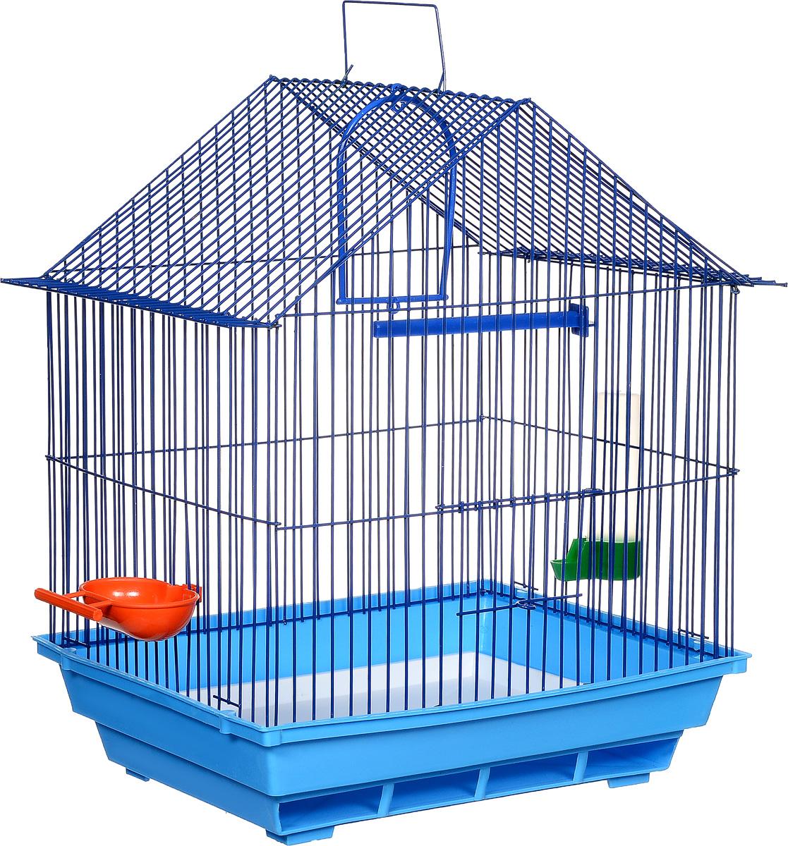 Клетка для птиц ЗооМарк, цвет: синий поддон, синяя решетка, 39 х 28 х 42 см410ССКлетка ЗооМарк, выполненная из полипропилена и металла, предназначена для мелких птиц. Изделие состоит из большого поддона и решетки. Клетка снабжена металлической дверцей. В основании клетки находится малый поддон. Клетка удобна в использовании и легко чистится. Она оснащена кольцом для птицы, поилкой, кормушкой и подвижной ручкой для удобной переноски.
