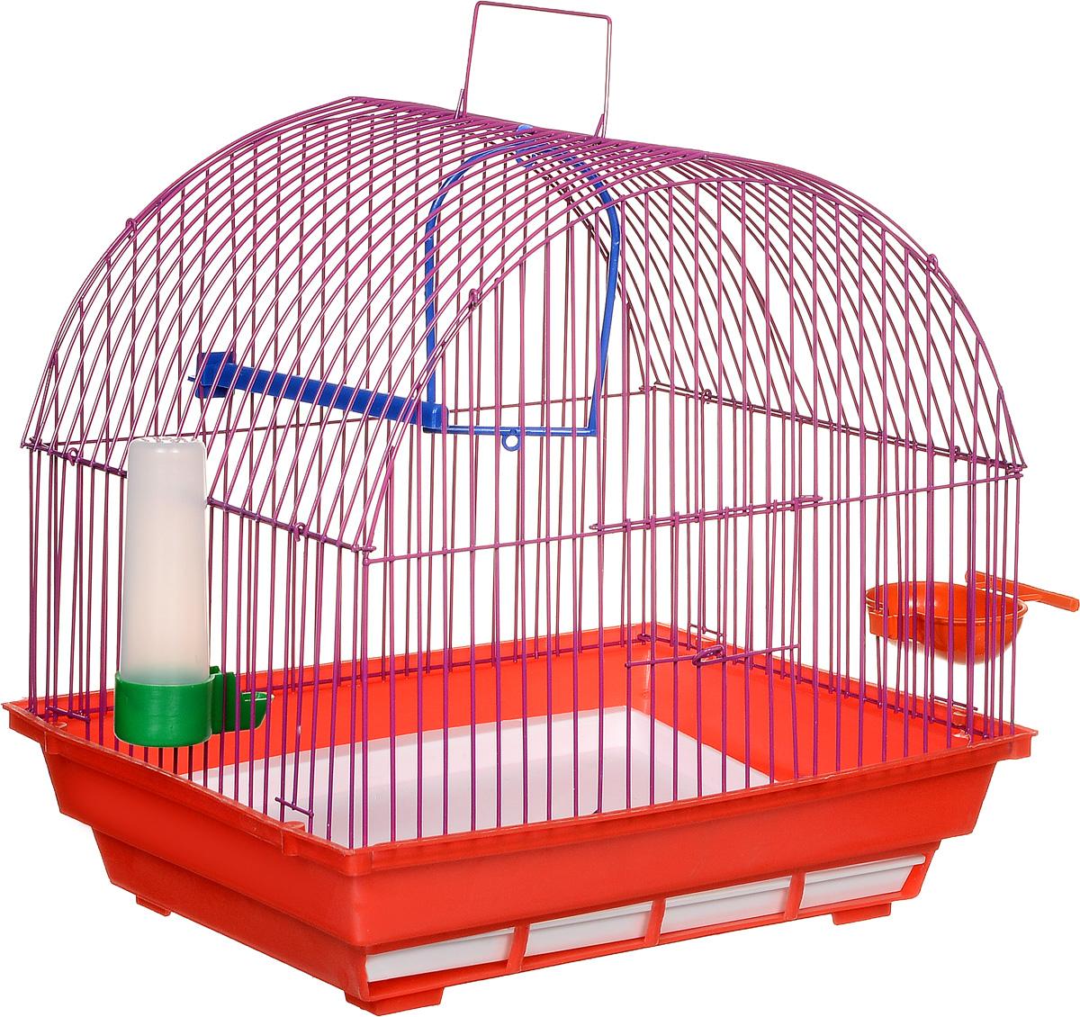 Клетка для птиц ЗооМарк, цвет: красный поддон, фиолетовая решетка, 35 х 28 х 34 см410КФ/420Клетка ЗооМарк, выполненная из полипропилена и металла, предназначена для мелких птиц. Изделие состоит из большого поддона и решетки. Клетка снабжена металлической дверцей. В основании клетки находится малый поддон. Клетка удобна в использовании и легко чистится. Она оснащена жердочкой, кольцом для птицы, поилкой, кормушкой и подвижной ручкой для удобной переноски.
