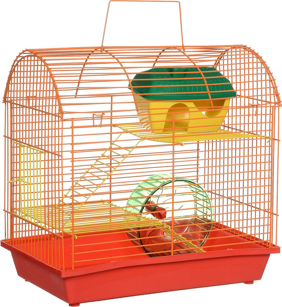Клетка для грызунов ЗооМарк, 2-этажная, цвет: красный поддон, оранжевая решетка, желтые этажи, 37 х 23 х 35 см112жкКОКлетка ЗооМарк, выполненная из полипропилена и металла, подходит для мелких грызунов. Изделие двухэтажное, оборудовано колесом для подвижных игр и пластиковым домиком. Клетка имеет яркий поддон, удобна в использовании и легко чистится. Сверху имеется ручка для переноски. Такая клетка станет личным пространством и уютным домиком для маленького грызуна.