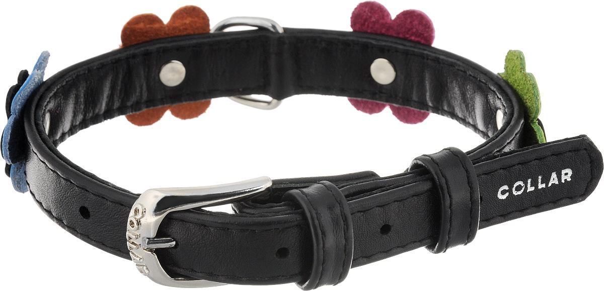 Ошейник для собак CoLLaR Glamour Аппликация, цвет: черный, розовый, оранжевый, ширина 1,5 см, обхват шеи 27-36 см35011Ошейник CoLLaR Glamour Аппликация изготовлен из натуральной кожи, устойчивой к влажности и перепадам температур. Клеевой слой, сверхпрочные нити, крепкие металлические элементы делают ошейник надежным и долговечным. Изделие декорировано аппликациями в виде цветочков. Размер ошейника регулируется при помощи металлической пряжки. Имеется металлическое кольцо для крепления поводка. Ваша собака тоже хочет выглядеть стильно! Такой модный ошейник станет для питомца отличным украшением и выделит его среди остальных животных. Изделие отличается высоким качеством, удобством и универсальностью. Обхват шеи: 27-36 см. Ширина: 1,5 см.