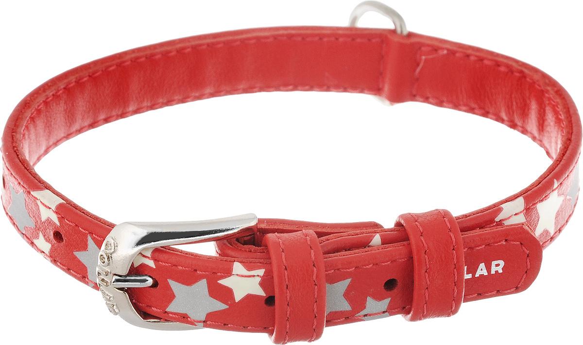 Ошейник для собак CoLLaR Glamour Звездочка, цвет: красный, ширина 1,5 см, обхват шеи 27-36 см35853Ошейник для собак CoLLaR Glamour Звездочка изготовлен из натуральной кожи и декорирован оригинальным рисунком. Специальная технология печати по коже позволяет наносить на ошейник устойчивый рисунок, обладающий одновременно светоотражающим и светонакопительным эффектом. Ошейник устойчив к влажности и перепадам температур. Сверхпрочные нити, крепкие металлические элементы делают ошейник надежным и долговечным. Обхват ошейника регулируется при помощи пряжки. Ошейник оснащен металлическим кольцом для крепления поводка. Изделие отличается высоким качеством, удобством и универсальностью. Минимальный обхват шеи: 27 см. Максимальный обхват шеи: 36 см. Ширина ошейника: 1,5 см. Длина ошейника: 39 см.