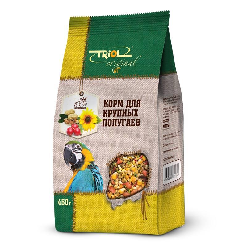 Корм Triol Original, для крупных попугаев, 450 гTF-00500Корма и лакомства Triol Original содержат только натуральные ингредиенты и изготовлены из отборного зерна. Оригинальная рецептура учитывает пещевые потребности вашего пернатого питомца. Сбалансированный и разнообразный состав не только удовлетворяет вкусовым предпочтениям, но и укрепляет здоровье. Полнорационный корм, разработанный специально для крупных попугаев. Изготовлен исключительно из натуральных ингредиентов природного происхождения, упакован в практичный четырехшовный пакет с плоским дном, сохраняющим свежесть корма. Состав: Просо белое, просо красное, семена подсолнечника, овёс, овёс очищенный, гречка, ячмень, конопля, канареечник, суданка, сорго, сафлор, морковь, шиповник, витаминный комплекс. Попугайчики - шумные и суетливые создания. В каждое кормление насыпайте столько корма, сколько птичка сможет съесть за один приём - излишки могут испачкаться или испортиться. Лучше добавлять свежую порцию по необходимости. Обязательно проконсультируйтесь у заводчика попугая, как...