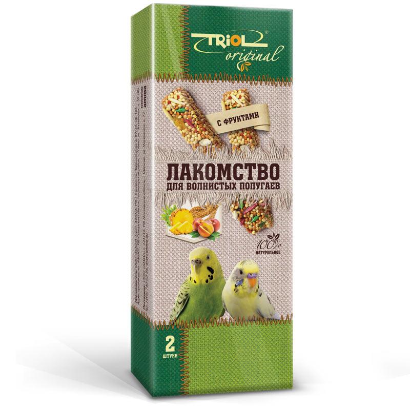 Лакомство для попугаев Triol Original, с фруктами, 2 штTF-20400Корма и лакомства Triol Original содержат только натуральные ингредиенты и изготовлены из отборного зерна. Оригинальная рецептура учитывает пещевые потребности вашего пернатого питомца. Сбалансированный и разнообразный состав не только удовлетворяет вкусовым предпочтениям, но и укрепляет здоровье. Лакомство для волнистых попугаев с фруктами: в картонной коробке две палочки лакомства (запаяны в полиэтиленовый пакет для сохранения свежести продукта). Лакомство - дополнительное питание и развлечение для Вашей птички, позволяющее также поточить клюв, что необходимо декоративным птицам, живущим в неволе. Вес 2 палочек - 88 г.