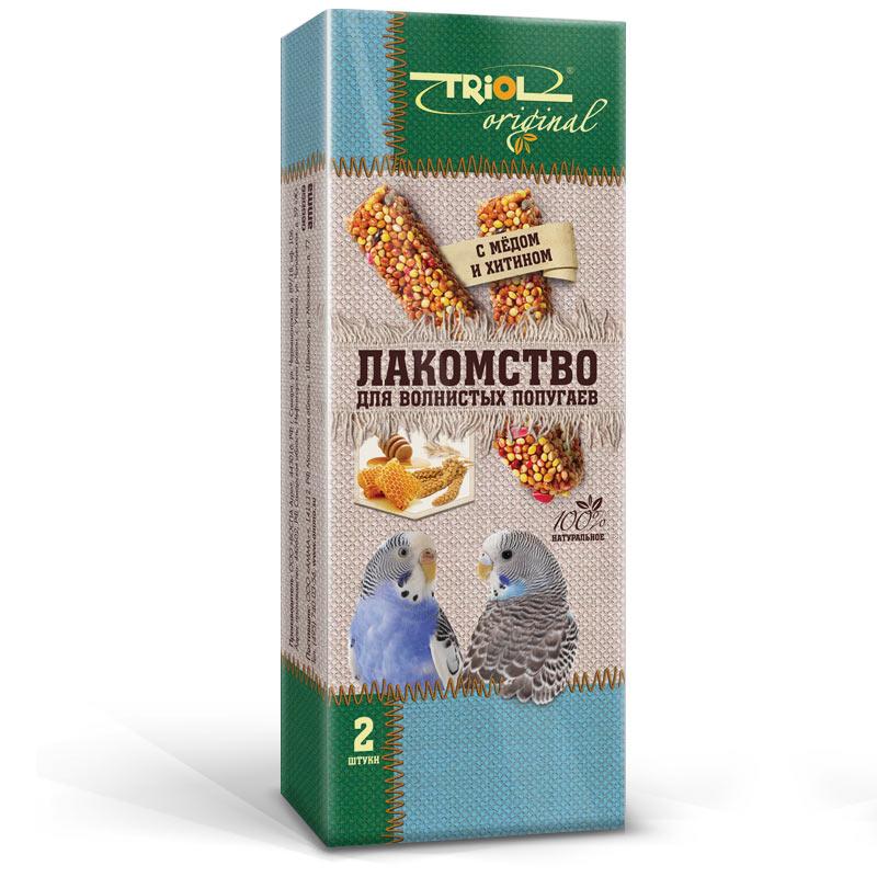 Лакомство для попугаев Triol Original, с медом и хитином, 2 штTF-20500Корма и лакомства Triol Original содержат только натуральные ингредиенты и изготовлены из отборного зерна. Оригинальная рецептура учитывает пещевые потребности вашего пернатого питомца. Сбалансированный и разнообразный состав не только удовлетворяет вкусовым предпочтениям, но и укрепляет здоровье. Лакомство для волнистых попугаев с мёдом и хитином: в картонной коробке две палочки лакомства (запаяны в полиэтиленовый пакет для сохранения свежести продукта). Лакомство - дополнительное питание и развлечение для Вашего птички, позволяющее также поточить клюв, что необходимо декоративным птицам, живущим в неволе. Вес 2 палочек - 88 г.