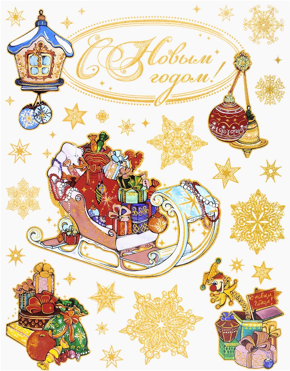 Новогоднее оконное украшение Magic Time Санки и игрушки. 3433534335Новогоднее оконное украшение, изготовленное из пленки ПВХ, поможет украсить дом к предстоящим праздникам. Яркие изображения в виде елочных игрушек, снежинок и ветвей ели, нанесены на прозрачную пленку и крепятся к гладкой поверхности стекла посредством статического эффекта. Рисунки декорированы золотистыми блестками. С помощью этих украшений вы сможете оживить интерьер по своему вкусу. Новогодние украшения всегда несут в себе волшебство и красоту праздника. Создайте в своем доме атмосферу тепла, веселья и радости, украшая его всей семьей.