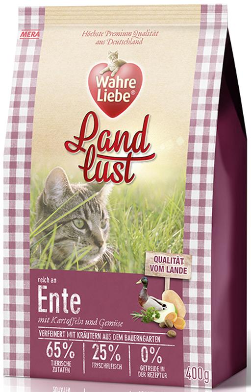 Корм сухой Wahre Liebe Landlust Ente, для кошек, с уткой, 400 г55046Полнорационный беззерновой корм для кошек с уткой