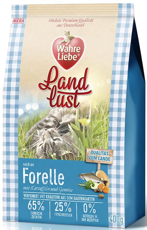 Корм сухой Wahre Liebe Landlust Forelle, для кошек, с форелью, 1,5 кг31145Полнорационный беззерновой корм для кошек с форелью