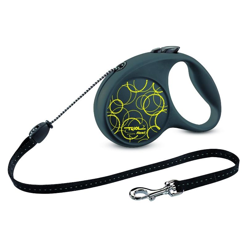 Поводок-рулетка Triol Fun Neon, до 12 кг, 5 м. Размер SFDL019Рулетки для собак flexi – это безусловное качество, подкрепленное многолетним опытом, которое теперь доступно и поклонникам бренда TRIOL. Идеальное исполнение, прочный и, в то же время, приятный на ощупь пластик, запатентованный тормозной механизм и легендарная надежность стали более доступны благодаря сотрудничеству российской компании и немецкого производителя. Рулетки новой коллекции производятся в Германии, собираются вручную и проходят десятки проверок качества перед выпуском с завода. Компания flexi предоставляет два года гарантии. В рулетках серии FUN предусмотрена возможность крепления специального мультибокса - компактный контейнер для гигиенических пакетов удобно фиксируется прямо под ручкой! Мультибокс приобретается отдельно. Длина ленты: 5м Максимальная нагрузка: 12кг Цвет рулетки: черный, цвет рисунка: неоново-желтый