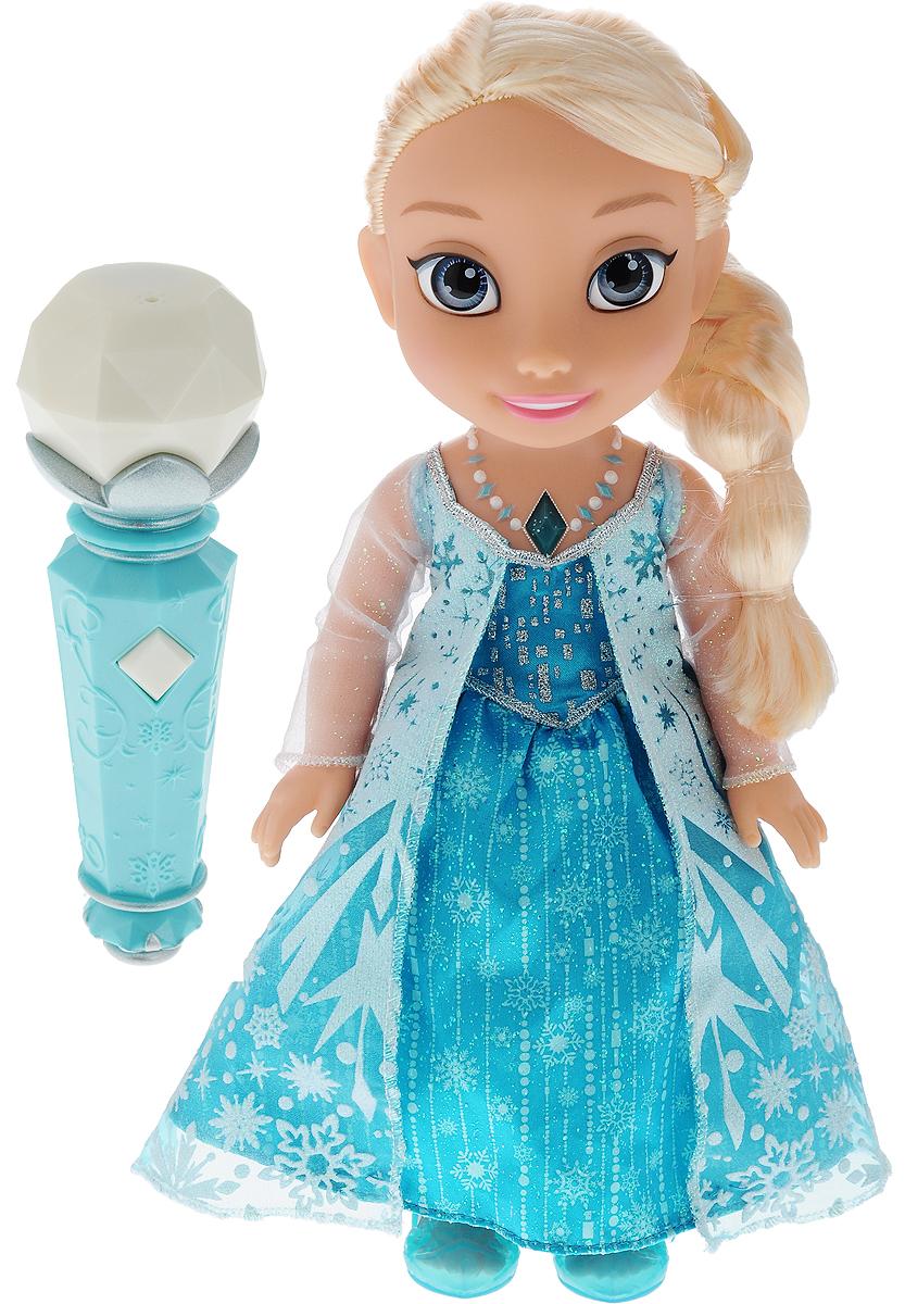 Disney Frozen Кукла озвученная Эльза310780Теперь каждый сможет спеть с принцессой Эльзой, любимой героиней из мультфильма Холодное Сердце, которая обязательно понравится вашей девочке. Туловище куклы Эльзы выполнено из высококачественного пластика; голова, ручки и ножки подвижны. Принцесса одета в очаровательное платье, точь-в-точь как на героине из мультфильма. На ножках - туфельки, а на шее - ожерелье с драгоценным камнем. Кукла имеет длинные светлые волосы, которые можно заплетать в различные прически. С этой куклой каждая девочка сможет почувствовать себя настоящей принцессой и спеть песню Отпусти и забудь на разных языках: английском, португальском, нидерландском, немецком, русском, украинском. Чтобы активировать куклу необходимо дотронуться до волшебного амулета на шее куклы и поднести микрофон к ее рту. Чтобы кукла исполняла песню на русском языке, переместите переключатель в положение 2, затем нажмите на ожерелье несколько раз, чтобы услышать исполнение песни на русском языке....