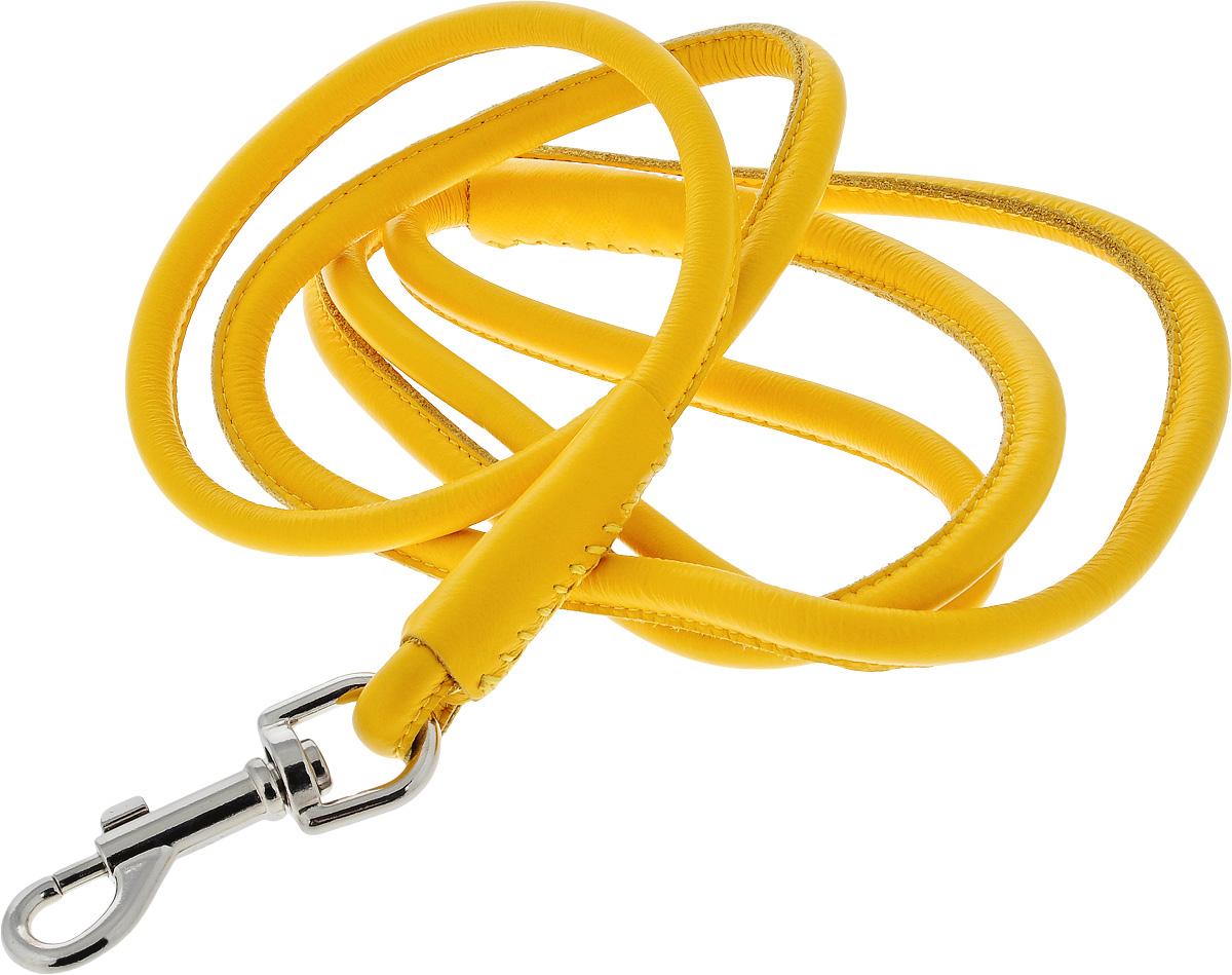 Поводок для собак CoLLaR Glamour, цвет: желтый, диаметр 1 см, длина 1,83 м34408Поводок для собак CoLLaR Glamour изготовлен из натуральной кожи и снабжен металлическим карабином. Поводок отличается не только исключительной надежностью и удобством, но и ярким дизайном. Он идеально подойдет для активных собак, для прогулок на природе и охоты. Поводок - необходимый аксессуар для собаки. Ведь в опасных ситуациях именно он способен спасти жизнь вашему любимому питомцу. Длина поводка: 1,83 м. Диаметр поводка: 1 см.