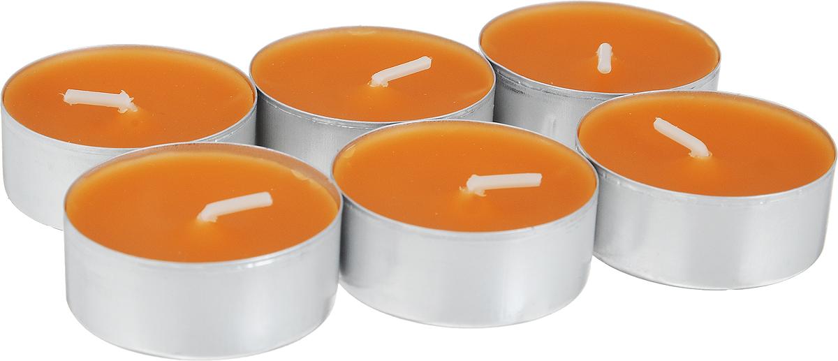 Свеча ароматическая чайная Bolsius Апельсин, 6 шт103626941584Свеча ароматическая Bolsius Апельсин создаст в доме атмосферу тепла и уюта. Чайная свеча в металлической подставке приятно смотрится в интерьере, она безопасна и удобна в использовании. Свеча создаст приятное мерцание, а сладкий манящий аромат окутает вас и подарит приятные ощущения. Время горения: 4 ч.