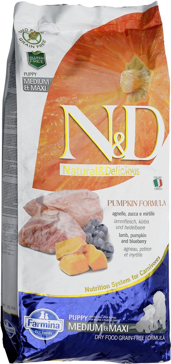 Корм сухой Farmina N&D для щенков средних и крупных пород, беззерновой, с ягненком, черникой и тыквой, 12 кг33345Сухой корм Farmina N&D является беззерновым и сбалансированным питанием для щенков средних и крупных пород, также подходит для беременных и кормящих собак. Изделие имеет высокое содержание витаминов и питательных веществ. Сухой корм содержит натуральные компоненты, которые необходимы для полноценного и здорового питания домашних животных. Товар сертифицирован.