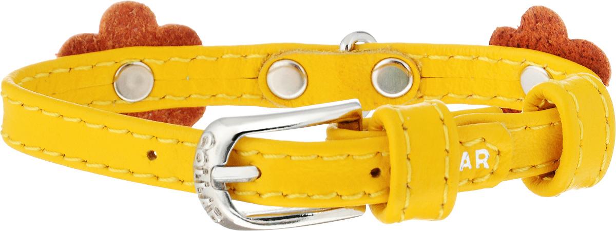 Ошейник для собак CoLLaR Glamour Аппликация, цвет: желтый, оранжевый, ширина 9 мм, обхват шеи 18-21 см34988Ошейник CoLLaR Glamour Аппликация изготовлен из кожи, устойчивой к влажности и перепадам температур. Клеевой слой, сверхпрочные нити, крепкие металлические элементы делают ошейник надежным и долговечным. Изделие отличается высоким качеством, удобством и универсальностью. Размер ошейника регулируется при помощи металлической пряжки. Имеется металлическое кольцо для крепления поводка. Ваша собака тоже хочет выглядеть стильно! Модный ошейник с аппликацией в виде цветов станет для питомца отличным украшением и выделит его среди остальных животных. Минимальный обхват шеи: 18 см. Максимальный обхват шеи: 21 см. Ширина: 9 мм.