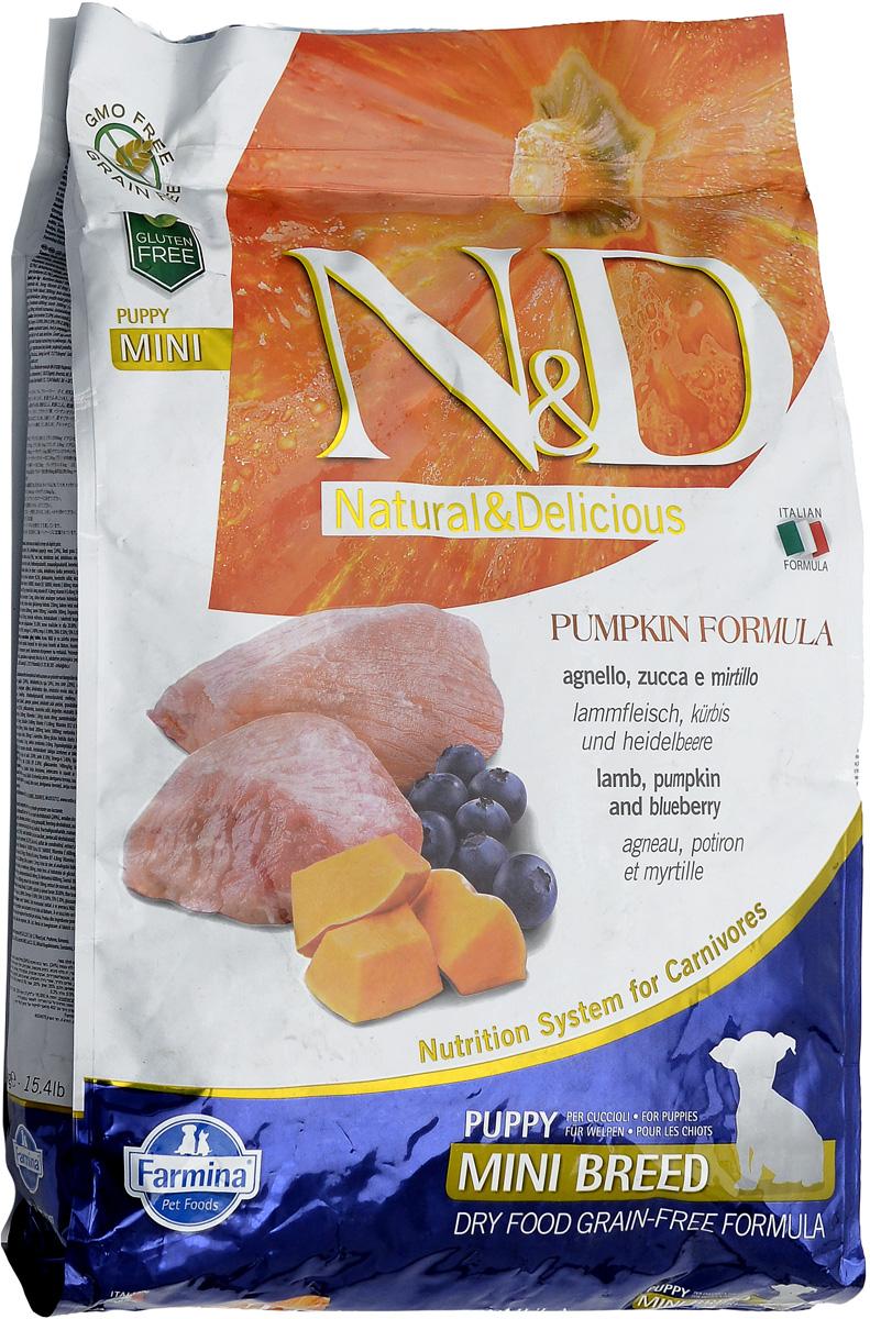 Корм сухой Farmina N&D для щенков мелких пород, беззерновой, с ягненком, черникой и тыквой, 7 кг33628Сухой корм Farmina N&D является беззерновым и сбалансированным питанием для щенков мелких пород, также подходит для беременных и кормящих собак. Изделие имеет высокое содержание витаминов и питательных веществ. Сухой корм содержит натуральные компоненты, которые необходимы для полноценного и здорового питания домашних животных. Товар сертифицирован.