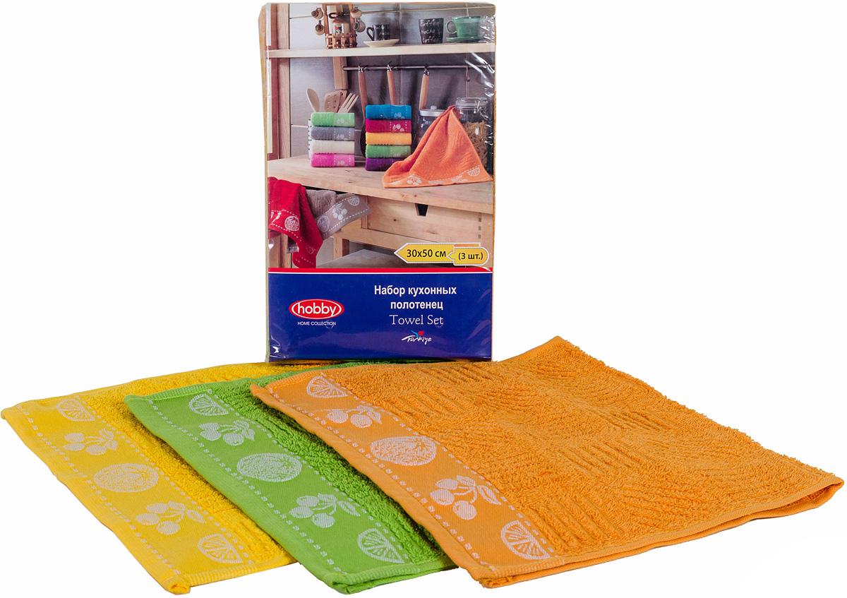 Полотенце махровое Hobby Home Collection Meyve Bahcesi, цвет: желтый, зеленый, оранжевый, 30х50 см, 3 шт1501000517Полотенца марки Хобби уникальны и разрабатываются эксклюзивно для данной марки. При создании коллекции используются самые высокотехнологичные ткацкие приемы. Дизайнеры марки украшают вещи изысканным декором. Коллекция линии соответствует актуальным тенденциям, диктуемым мировыми подиумами и модой в области домашнего текстиля.